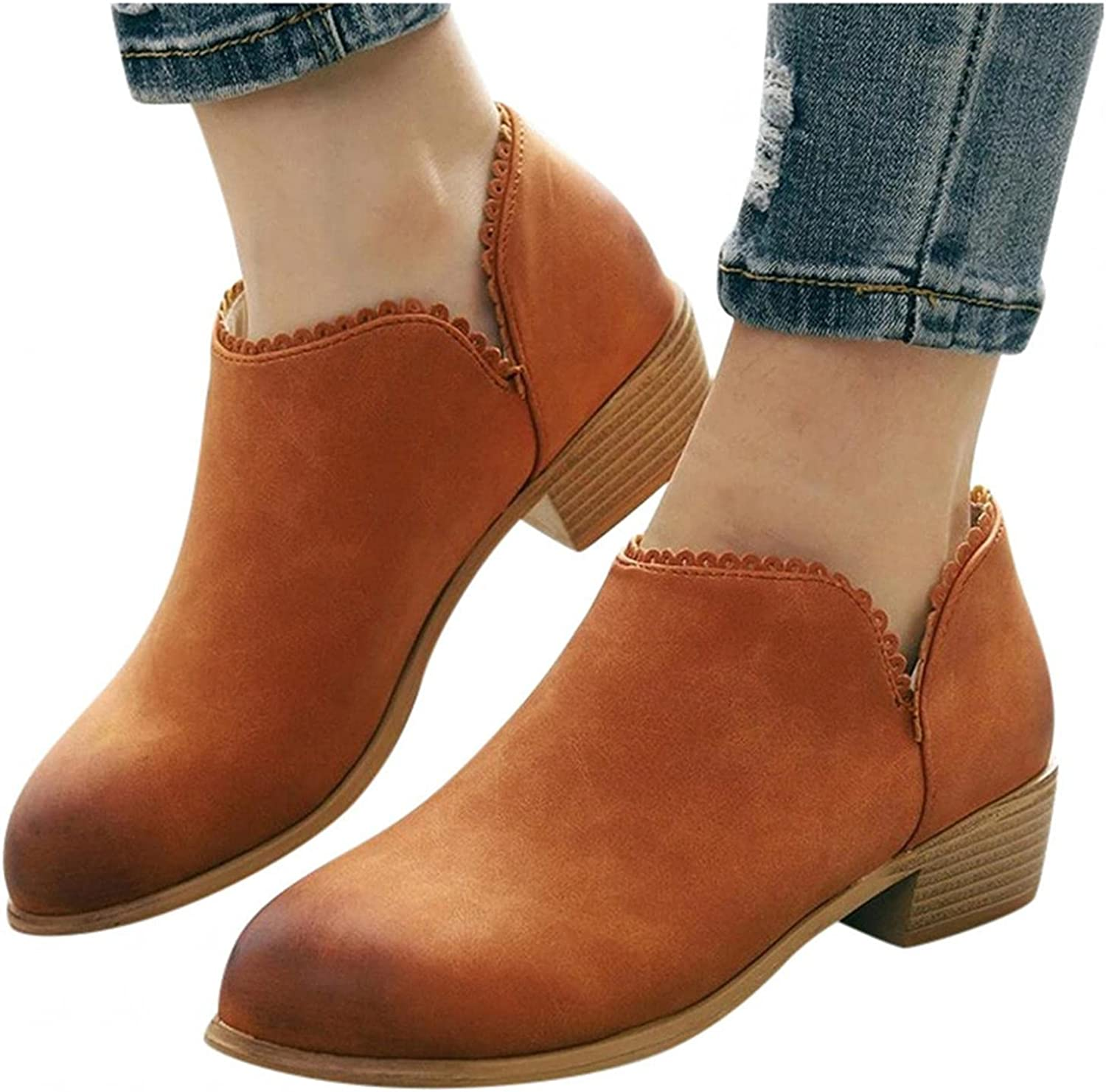 Niceast Boots for Women Breathable Flat Heeled Short Boots Retro Slip-on Cowgirl Boots Autumn Casual Single Shoes
