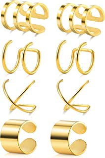Tornito 4-10 Pairs Stainless Steel Ear Cuff Helix Cartilage Clip On Wrap Earrings Fake Nose Ring Non-Piercing Adjustable