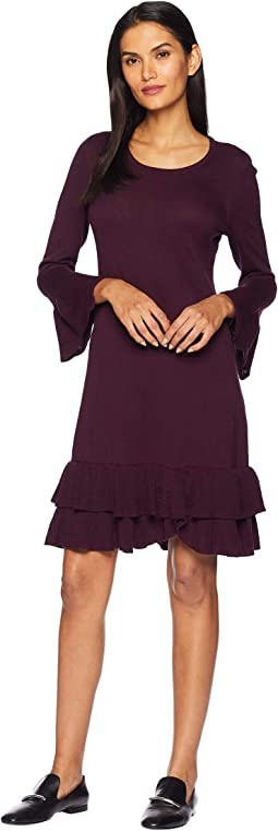 Bell Sleeve Sweater Dress w/ Double Ruffle Hem