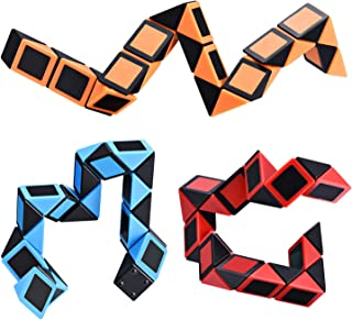Ganowo Sensory Fidget Snake Cube Twist Puzzle Brain Teaser Toys Halloween Toys Party Favors Goody Bags Fillers, Set of 3