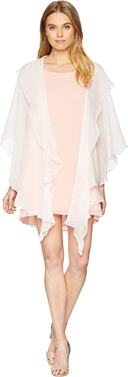 Two Tiered Ruffle Draped Evening Wrap