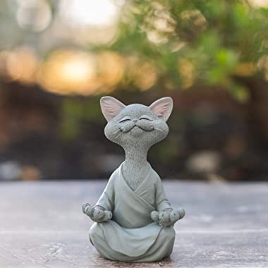 Whimsical Grey Buddha Cat Figurine Meditation Yoga Collectible - Happy Cat Collection - Cat Lover Gifts for Women, Cat Lover