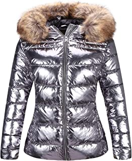 Bellivera Women's Ultra Lightweight Puffer Coat,Metallic Shiny Jacket with Detachable Fur Collar Warmth Winter Outerwear
