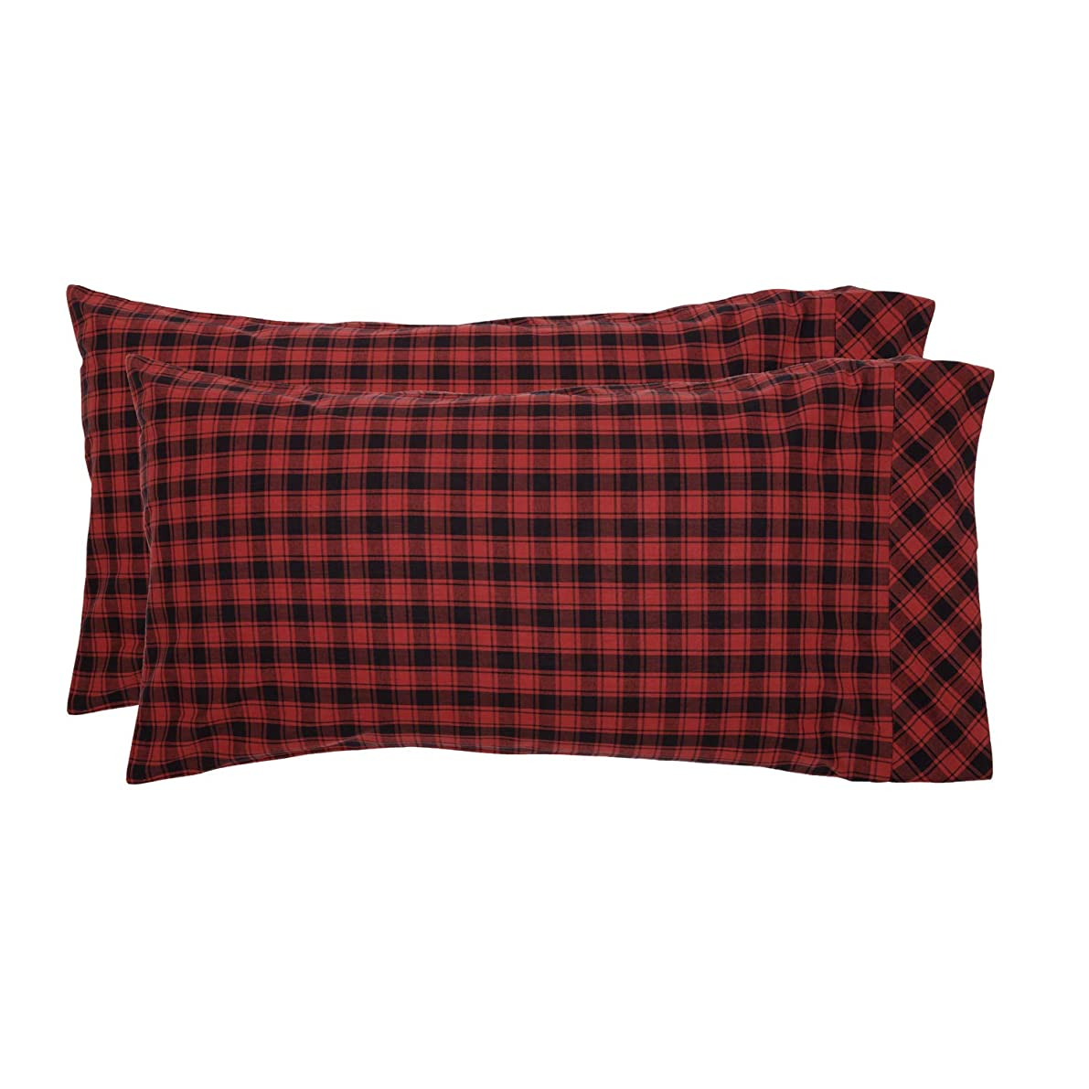 VHC Brands Rustic Bedding Shasta Cabin Cotton Buffalo Check King Pillow Case Set of 2, Chili Pepper Red