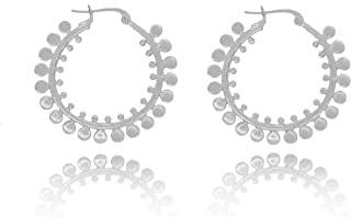 Balluccitoosi Sterling Silver Ethnic Hoop Earrings for Women