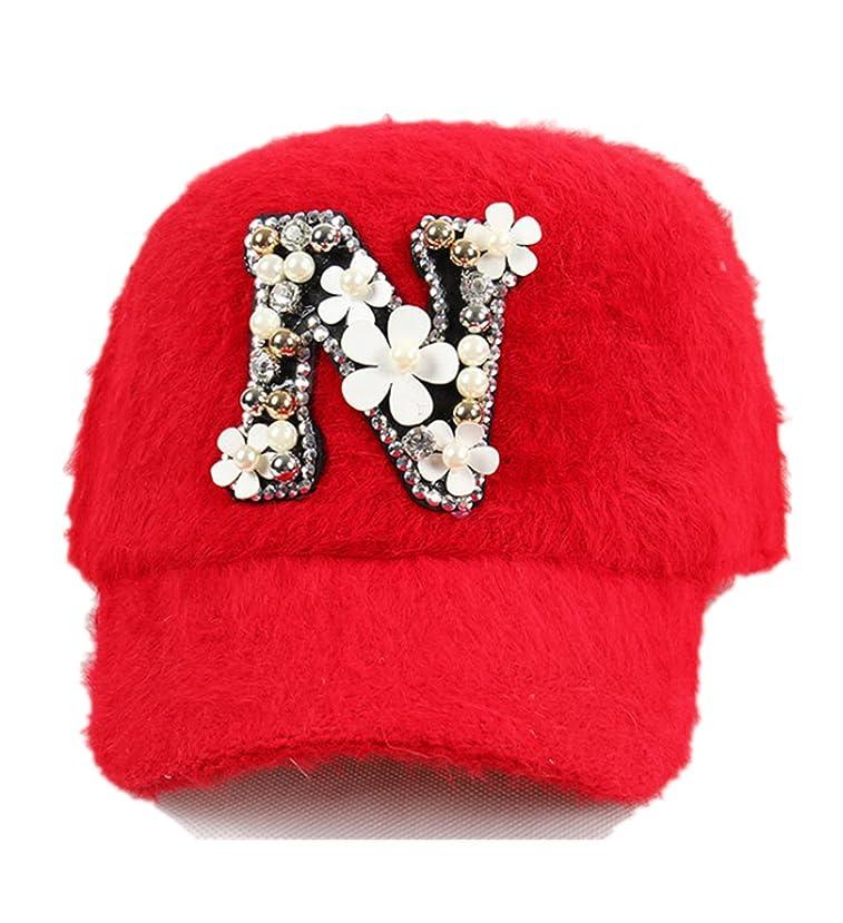 不信繁雑永久micrkrowen Rabbit野球キャップN文字花ファッション帽子レッド