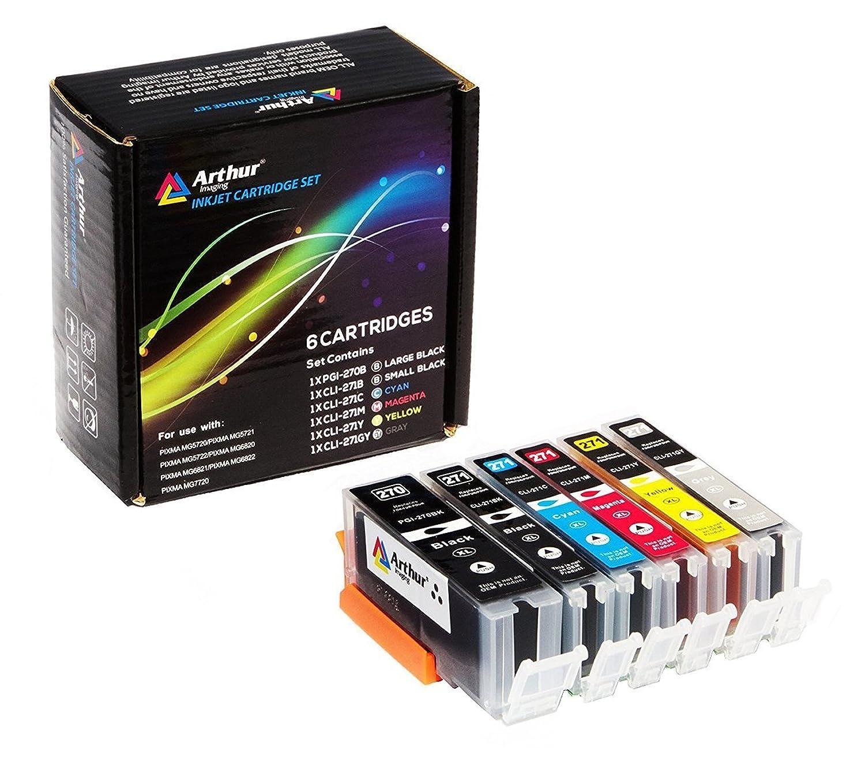 6パックアーサー?イメージング互換インクカートリッジ交換270?x l 271?x l ( 1?Largeブラック、1スモールブラックシアン、1、1、1イエロー、マゼンタ、1グレー、6パック)