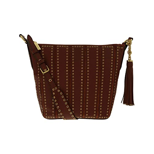 f5e057f9031a Michael Kors Womens Brooklyn Leather Grommet Shoulder Handbag Red Medium