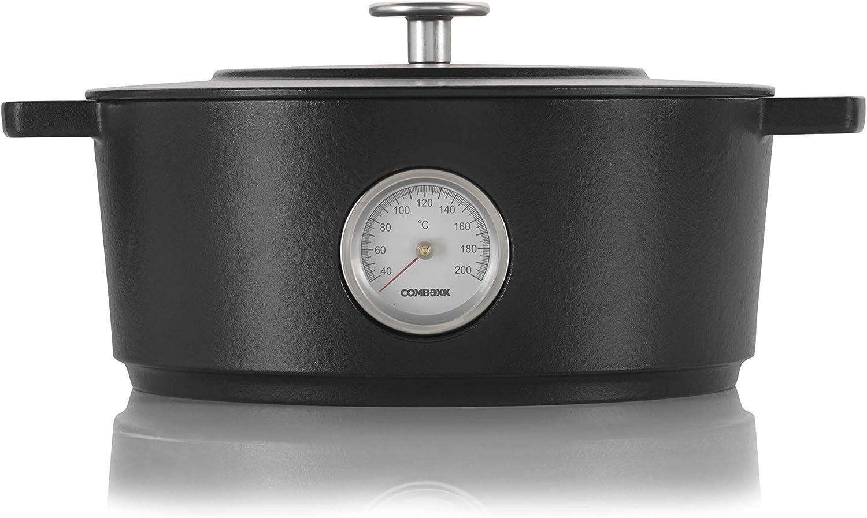 Combekk RAILWAY Recycled Enameled Cast Iron 6.3 Quart Dutch Oven w/Thermometer