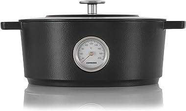 "Combekk RAILWAY Recycled Enameled Cast Iron 6.3 Quart Dutch Oven w/Thermometer, Black, 11"""