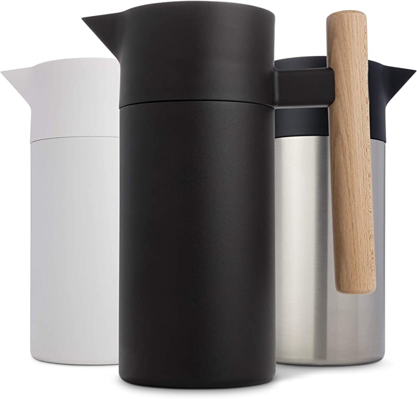 Stainless Steel Thermal Coffee Carafe Double Walled Vacuum Insulated Thermos And Beverage Pot Compact Travel Size Strainer For Tea Infused Drinks And Water 40 Fl Oz Black