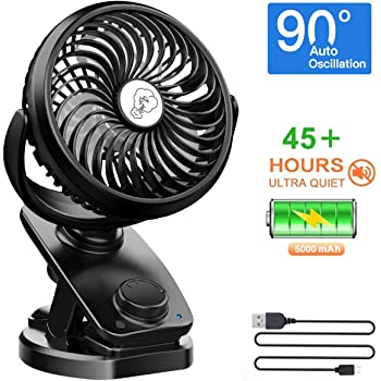 NANW Clip on Stroller Fan, Max 45 Hours Auto Oscillation Fan, 5000mAh Rechargeable Battery, Portable Clip Desk Fan, Personal Mini Table Fan for Baby Stroller Outdoor/Indoor Car Travel Office