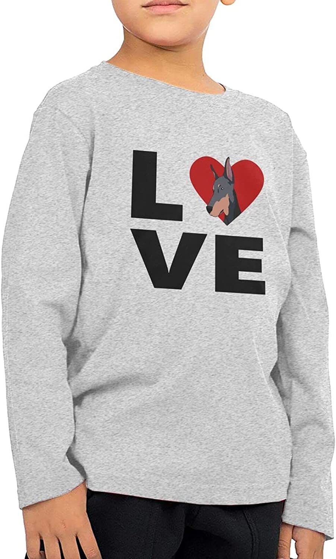 Love Doberman Boys Long Sleeve Shirts Cotton Sweatshirt Novelty T-Shirt Top Tees 2-6 Years