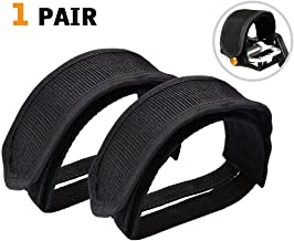 SBYURE 1 Pairs Bicycle Pedal Straps Pedal Toe Clips Straps Tape Slip Double Adhesive Straps for Fixed Gear Bike Beginner Black