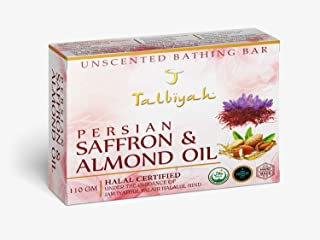T TALBIYAH Unscented Premium Persian Saffron and Almond Oil with 80% TFM Grade 1 Soap