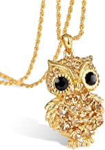 Luxury Austrian Crystal Baroque Style Owl Chain Pendant Necklaces for Womens