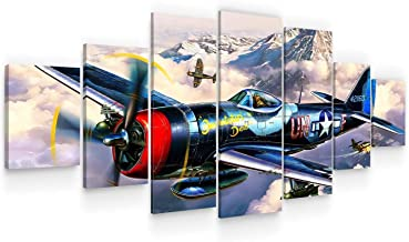 Startonight Huge Canvas Wall Art - Plane Painting Fly To Explore - Home Decor - Dual View Surprise Artwork Modern Framed W...