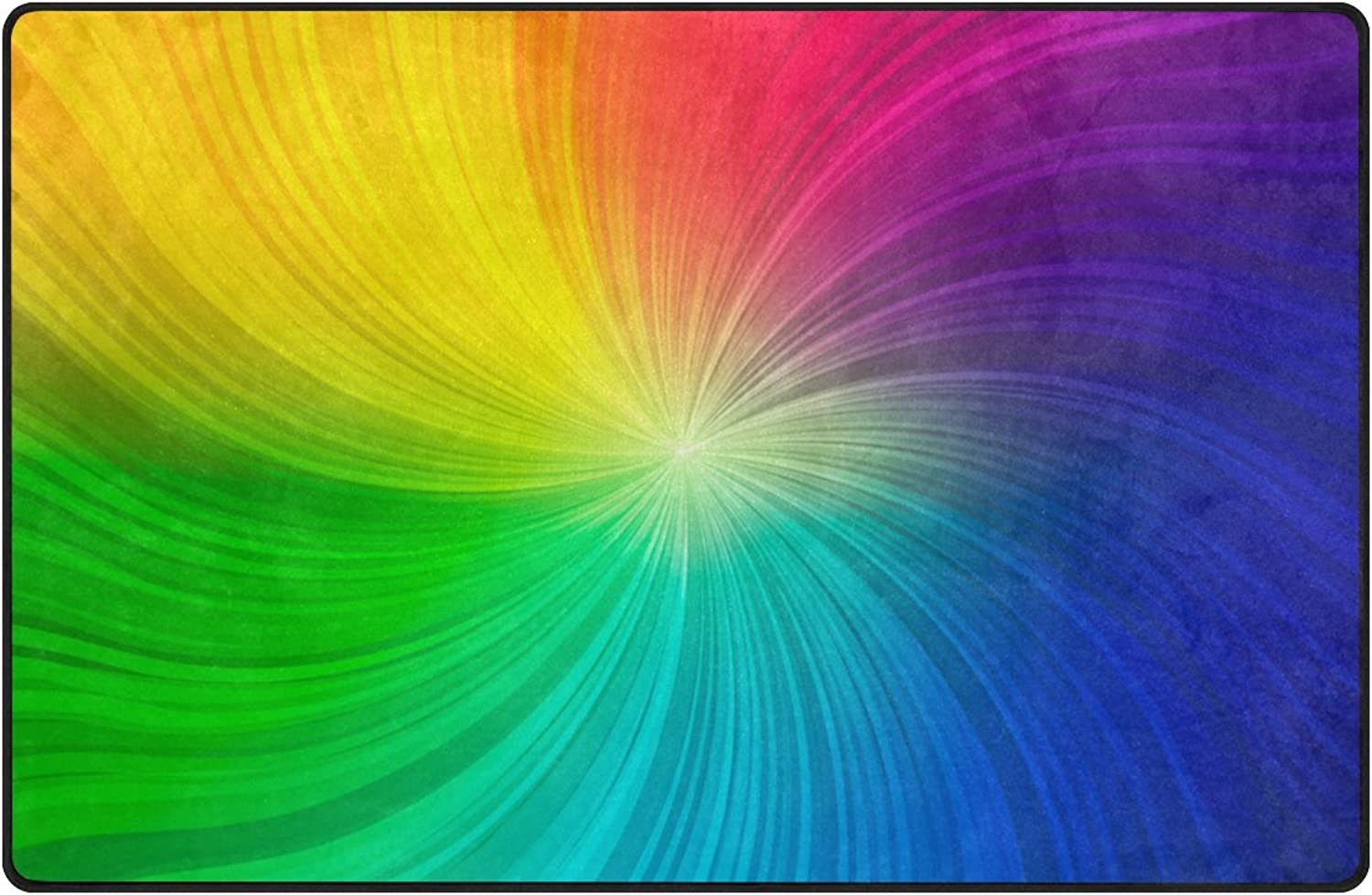 U LIFE Rainbow colorful Striped Spiral Large Doormats Area Mats Runner Floor Mat Cover Carpet for Entrance Way Living Room Bedroom Kitchen Office 72 x 48 Inch