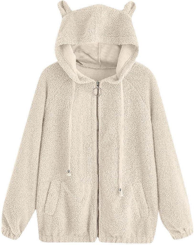 Teddy Bear Jacket, NRUTUP Teddy Jacket for Women with Bear Ears, Faux Fur Shearling Jacket, Winter Cute Warm Coat