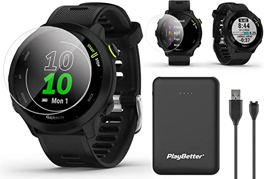 Garmin Forerunner 55 (Black) GPS Running Watch Power Bundle   Includes PlayBetter Portable Charger & HD Screen Protectors   2021 GPS Running Watch   Heart Rate, PacePro, Accurate GPS   010-02562-00