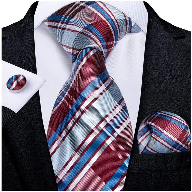 WPYYI Classic Wide Men's Silk Ties Set Business Wedding Tie Pocket Square Cufflinks Gifts for Men (Color : B)