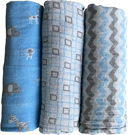 Muslin Baby Swaddle Blankets by LANCON Kids (3 Pack) - 100% Cotton,  Soft,  Stylish,  Multi-Use Blankets 47 x 47 (Blue/Gray/White - Chevron,  Square,  Safari Collection)