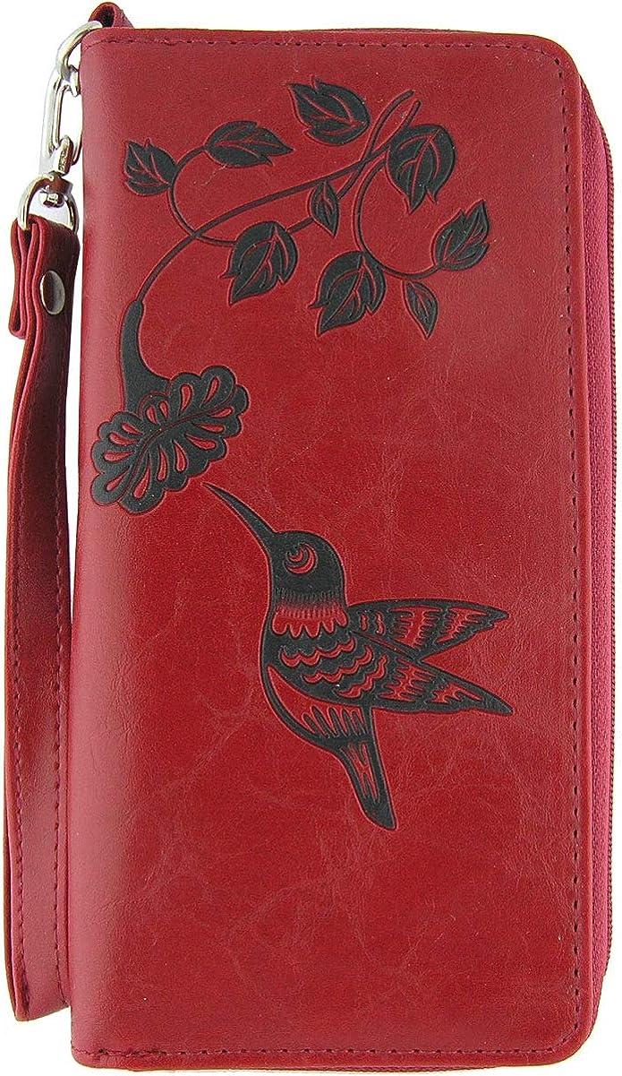 LAVISHY Hummingbird & Flower Embossed Vegan/Faux Leather Large Wristlet Wallet
