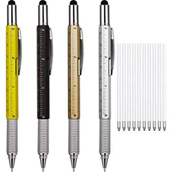 4 Pieces Gift Pen for Men 6 in 1 Multitool Tech Tool Pen Screwdriver Pen with Ruler, Levelgauge, Ballpoint Pen and Pen Refills, Unique Gifts for Men (Gold, Black, Silver, Yellow)