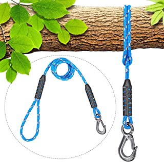 SELEWARE Tree Swing Ropes Hammock Chair Straps Hanging Kit, Nylon Rope w/Stainless Steel Hook Holds to 3500lbs,Perfect for Playground Set,Children Swing, Outdoor Hammock and Hanging Chair, 6.56 ft