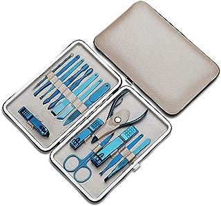 Boomer VIVI - Kit de manicura para pedicura, cortauñas, kit de aseo profesional, herramientas de uñas 15 en 1 con estuche ...