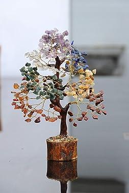 Zaicus Seven Chakra Gemstone Bonsai Money Tree | Healing Crystals Stone | Wealth & Prosperity | Feng Shui Gift | Handmade