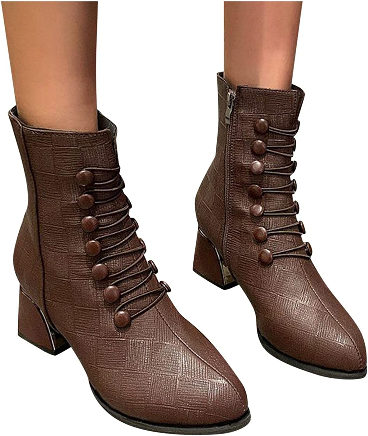 Hbeylia Dress Boots For Women Ladies Fashion Casual Lace Up Leather Round Toe Chunky Block Mid Heels Ankle Booties Combat Boots With Side Zipper Mid Calf Short Riding Boots Halloween Decoration