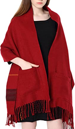 UTOVME Unisex Reversible Long Scarf Check Shawl Cashmere Feel Stole with Pocket