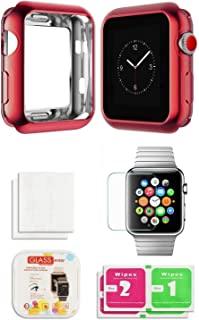 Apple Watch Chrome TPU Case W/Glass Screen Protector Built in Corner & Edge Series 1, 2 & 3 Cellular LTE/GPS Bumper Smooth [iWatch Gel Cover] Protective Protection Accessories (Red, 38mm)