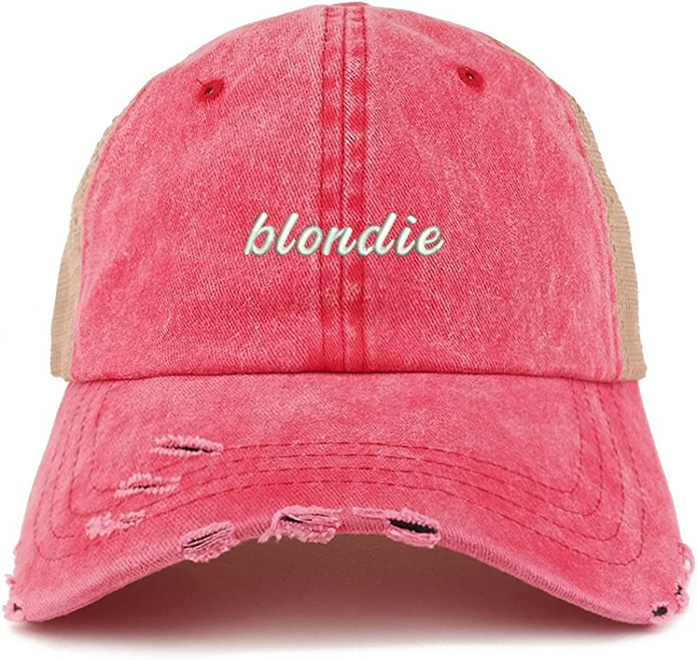 Trendy Apparel Shop Blondie Embroidered Frayed Bill Trucker Mesh Back Cap
