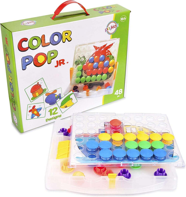 Playkidz Color Pop Jr. Peg Button Matching Sale item Mosaic High quality Art