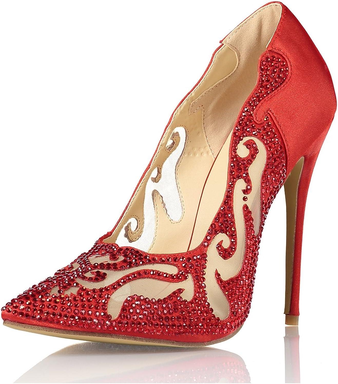 Miyoopark LS0640 Women's Crystals Pointed Toe Wedding Dress Pumps