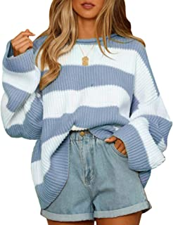 ZESICA Women's Long Sleeve Crew Neck Striped Color Block Comfy Loose Oversized Knitted Pullover Sweater