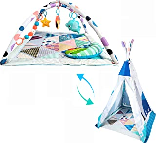 Fun N Well My Journey Baby Play Gym | Transform from Baby Gym to Teepee | Large Activity Play Mat for Infants & Toddlers |...