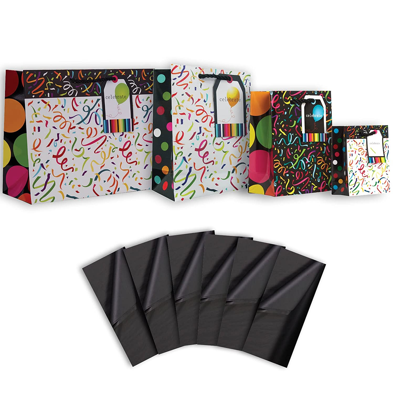 Jillson Roberts 4-Count Gift Bag and Tissue Paper Sets Available in 4 Different Assortments, Assorted Sizes Confetti and Streamers