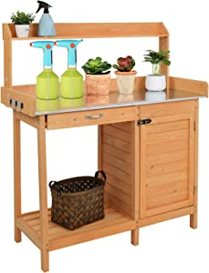 VINGLI Wooden Potting Bench Tables Work Station Table Outdoor Garden Potting Table with Cabinet, Hook, Storage Bottom Shelf,for Garden Supplies,Natural
