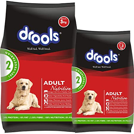 Drools 100% Vegetarian Adult Dry Dog Food, 3 kg + 1.2 kg Free