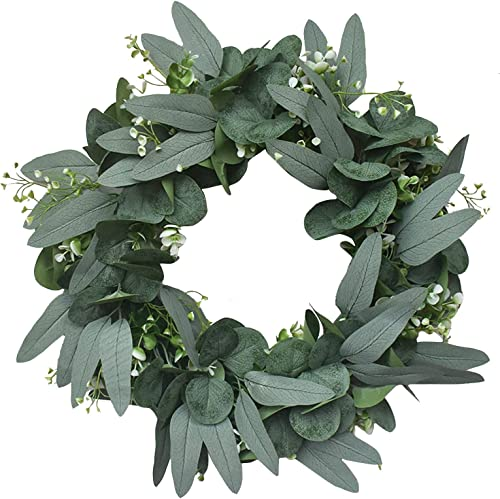 high quality Artificial Eucalyptus Wreaths Front Door Flower Wreath Home Decor, lowest Green sale Leaves Eucalyptus Wreath for Front Door Versatile Silk Leaves Spring & Summer Decorating, 16Inch online sale