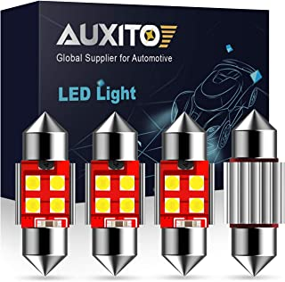 AUXITO CANBUS Error Free 4-SMD 3030 Chipset 31mm (1.25 inch) DE3175 DE3021 Festoon Xenon White LED Bulbs Replacement for Map Dome License Plate Lights Lamps (Pack of 4)
