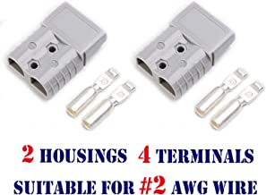 Mr.Brighton LED 175Amp Anderson Compatible 2 Pole Power Connector Plug Grey w/Terminals for #2 AWG Wire[2 housing+4 Terminal pins]