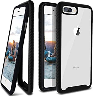 ANSIWEE iPhone 8 Plus Case, Reinforced Frame Crystal Hard Back Durable Shock-Absorption Soft TPU Bumper 360 Protective Case Cover for Apple iPhone 6 Plus/ 6s Plus/ 7 Plus/ 8 Plus 5.5 inch (Black)
