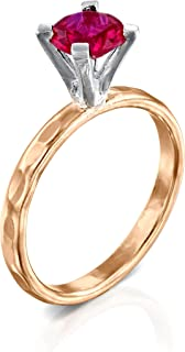 FABIN JEWELRY Handmade 2 Tone Hammered 14K Gold-Filled Sterling Silver and Round Cubic Zirconia Simulated Diamond Engageme...