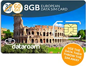 dataroam Prepaid 4G Europe Data SIM Card - Europe 8GB Bundle - 36 Countries - 3-in-1 SIM - Cellhire