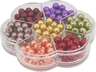 Jewelry Making Color Glass Pearl Pearlescent Beads Box Set C, 8mm Round, 168 Pcs