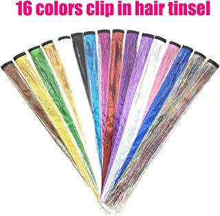 UPTO 16Pcs Hair Tinsel Strands Colored Hair Tinsel Kit Hair Dazzle Glitter Extensions Sparkling Shiny Hair Flairs Silk Clip on in Hair Extensions Multi-Colors Hair (19.7 inch, 16 colors clip in)
